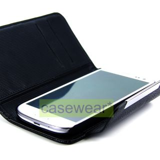 Black Leather Flip Pouch Wallet Hard Cover Case for Samsung Galaxy s 3