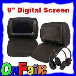 Black 9 Digital Headrest DVD Player Monitor w Zipper Cover