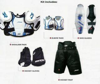 New Youth Medium Ice Hockey Gear Complete Equipment Set Protective Kit