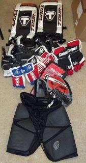 Ice Hockey Gear Lot Goalie Pads Skates Gloves
