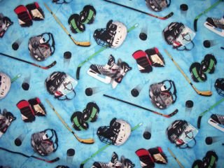 Hockey Masks Sticks Blue Cotton Fabric