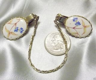 Vintage Transferware Flower on White Porcelain Sweater Guard Clips