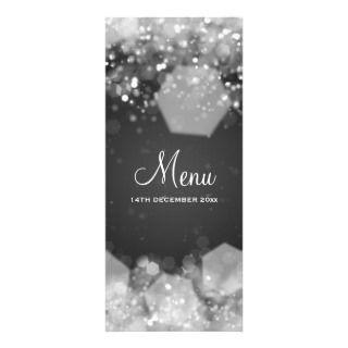 Sparkling Night Black Elegant Wedding Menu Custom Invitation