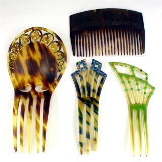Lot 4 Deco Rhinestone Faux Tortoise Shell Hair Combs