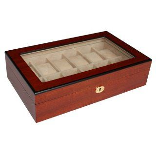 Elegant 12 Piece Cherry Wood Rosewood Mens Watch Box Display Case