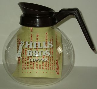 Vintage Hills Bros Coffee Pot Carafe Decanter Schott Glass Mint w Tag