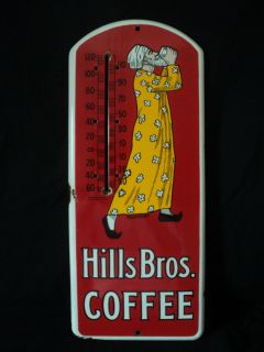 VTG Antique 1915 HILLS BROS COFFEE Porcelain Thermometer Advertising