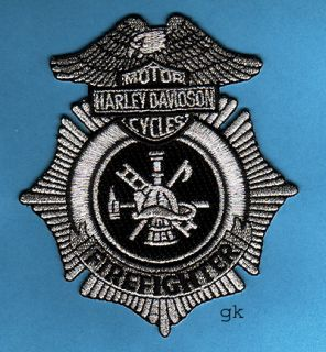 harley davidson fire firefighter patch silver black unused 4 top to