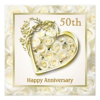 White roses and heart 50th Wedding Anniversary Invites