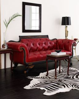 Red Tufted Leather Sofa & Loveseat   Neiman Marcus