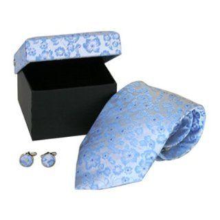 Floral Silver Grey & Light Blue 100% Silk Necktie & Cufflinks by Cuff
