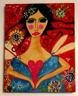 Angel Heart Soul Mexican Primitive Folk Painting Original Canvas Bella