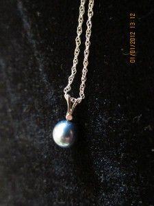 NA HOKU 14K White Gold Akoya Pearl Pendant & Diamond Necklace