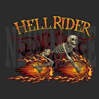 Mens Biker Long Sleeve Hell Rider Skeleton on Motorcycle Wheels on