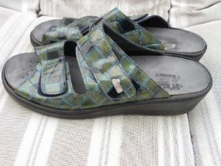 helle romus checkered patent leather sandals nwob sz 40