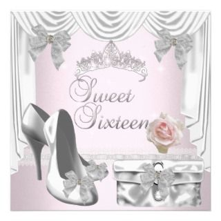 Sweet 16 16th Birthday Silver White Rose Pink Personalized Invite