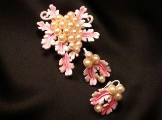 Vintage Florenza Glass Pearl Pink Enamel Flower Leaf Brooch Pin