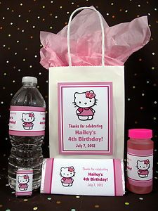 Hello Kitty 1st Birthday Party PDF CD w Favor Tags Bubble Popcorn