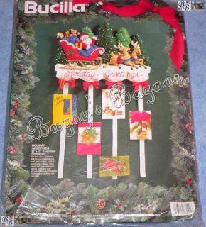 Bucilla Holiday Greetings Santa Sleigh Christmas Card Holder Felt Kit