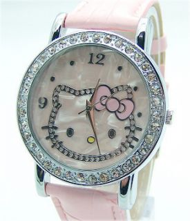 Hello Kitty Watch Good Quality Crystal Pink  USA Seller