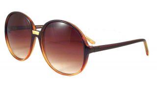 Vintage Women Large Round Brown Hippie Sunglasses 1245