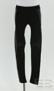 helmut lang black knit leather leggings size 2