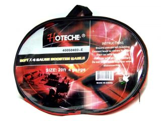 Heavy Duty Hoteche 20 ft 4 Gauge Booster Cable Jumping Cables Power