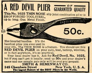 1915 Ad Smith Hemenway Co Red Devil Plier Tools Original Advertising