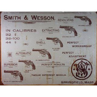 Smith & Wesson Tin Metal Sign  S&W Revolver Calibres