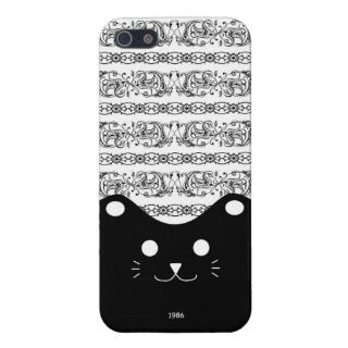 Elegant Lace pattern with Cute Black Cat iPhone 5 Cover