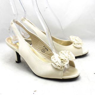 Ladies Ivory Satin Low Heel Diamonte Ruffled Detail Evening Wedding
