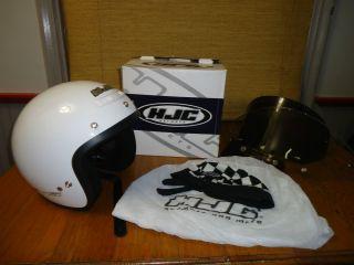 HJC CS 5 white motorcycle helmet w box shields Large biker Apparel