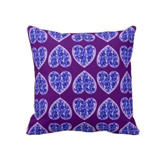 Romantic Blue Rose Hearts Pillow