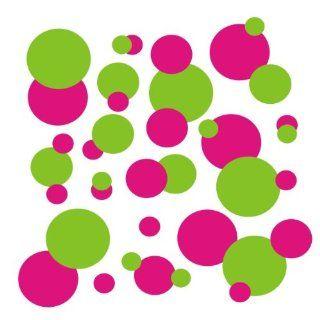 set of 106 Hot Pink and Lime Green polka dots Vinyl wall