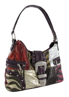 Animal Print Patchwork Hobo Bag with Rhinestone Buckle Color Purple