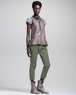 Brunello Cucinelli Sleeveless Leather Top, Ribbed Cotton Tee