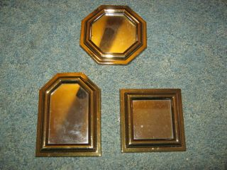 NEW HOME INTERIOR GOLD MIRRORS 3 PIECE SET WALL DECOR PLAQUE PICTURE