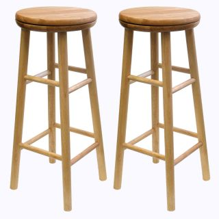30 High Swivel Wooden Stools in Natural Color by Winsome Wood