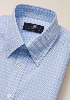 Hart Schaffner Marx Mens Blue Tattersall Dress Shirt