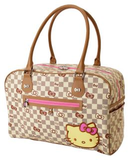AUTHENTIC HELLO KITTY GRID CHECKERED LARGE BEIGE OVERNIGHT TRAVEL BAG