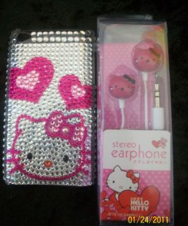 Hello Kitty iPod Touch 4G Case Cover Earbuds Rhinestone Horz Hearts