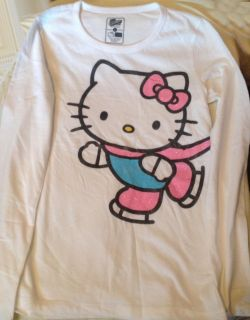 Hello Kitty Girls Sz XLarge 14 Snow Skate Winter Long Sleeve Tee Shirt
