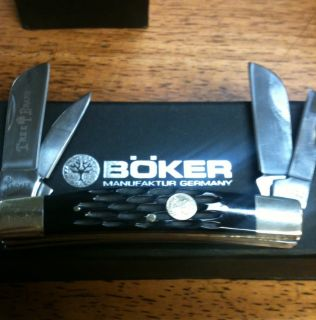 German Boker Tree Brand Jigged Black Bone 4 Blade Congress 110722