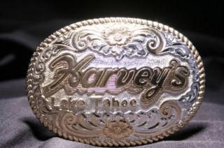 Crumrine Silver Gold Western Harveys Lake Tahoe Casino Belt Buckle