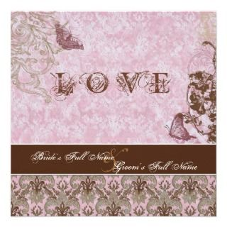 Fl di Lys Damask Pink Brown Butterfly Wedding Announcements