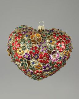 Jay Strongwater Blossom Heart Glass Christmas Ornament   Neiman