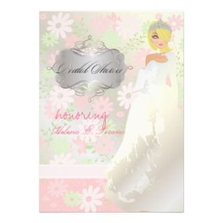 Princess + tiara/dreamy pink daisies/bridal shower invitations