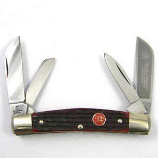 Vintage J.A. HENCKELS Pocket Knife HK 1 B 4 blade Congress RED