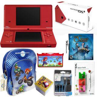 DSi Matte Red Handheld System Games Accessories Holiday Bundle
