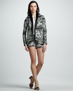 475X Haute Hippie Floral Threadwork Jacket, Sleeveless Silk Tuxedo